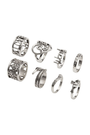 8-pack rings - Silver - Ladies | H&M
