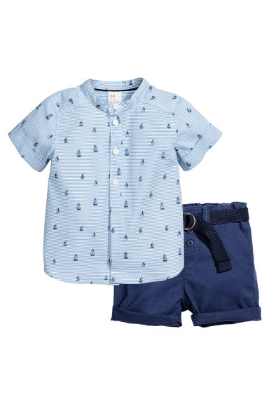 Shirt and shorts - Blue/White/Striped - Kids | H&M 1