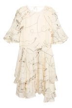 Lyocell-blend tiered dress - Lt. beige/Patterned - Ladies | H&M 2