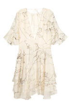 Lyocell-blend tiered dress - Lt. beige/Patterned - Ladies | H&M 3