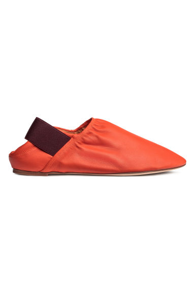 Slip-on leather loafers - Orange -  | H&M