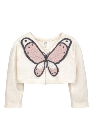 Fine-knit bolero - Natural white/Butterfly -  | H&M 1