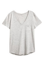V-neck top - Light grey marl - Ladies | H&M CN 2