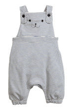 Soft dungarees - Natural white/Blue/Striped - Kids | H&M CN 1