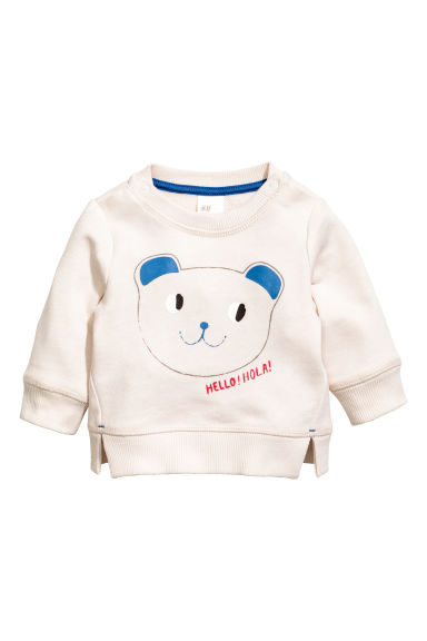 Printed sweatshirt - Light beige - Kids | H&M 1