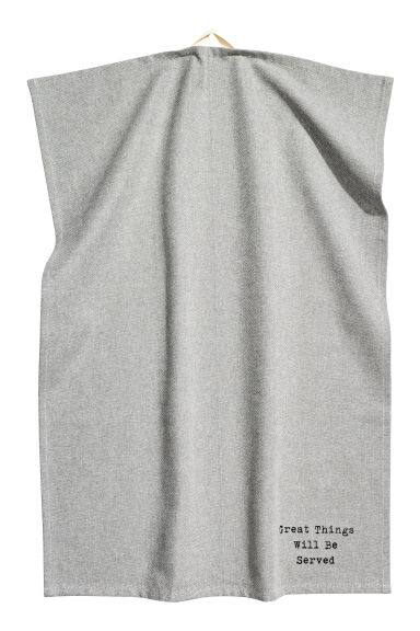 Tea towel with a text print - Grey - Home All | H&M CN
