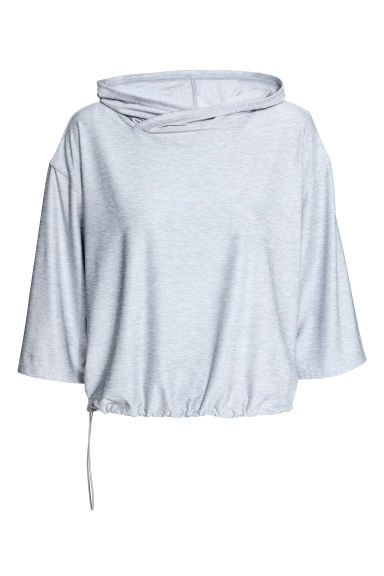 Hooded yoga top - Light grey marl - Ladies | H&M 1