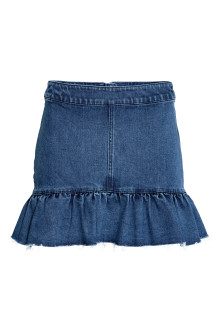 Denim skirt with a flounce