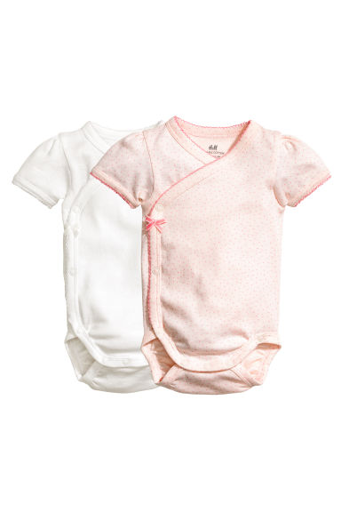 2-pack wrapover bodysuits - Powder pink/Spotted - Kids | H&M