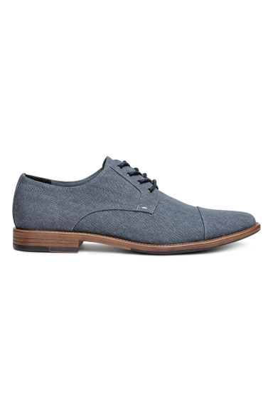 Cotton canvas Derby shoes - Grey-blue - Men | H&M