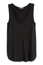 V-neck jersey top - Black - Ladies | H&M 3