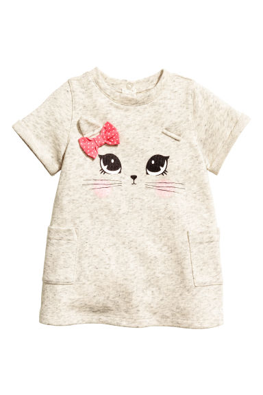 Sweatshirt dress - Light beige marl - Kids | H&M