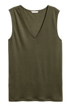 Lyocell top - Khaki green - Ladies | H&M 2