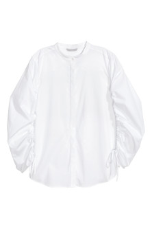 Cotton shirt with drawstrings