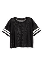 Cropped mesh T-shirt - Black - Ladies | H&M 2