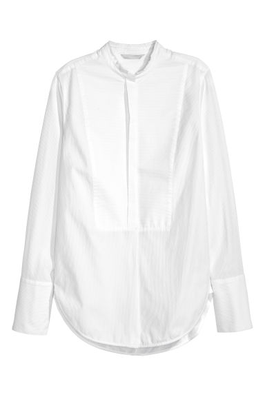 Textured cotton shirt - White - Ladies | H&M CN 1