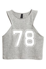 Cropped jersey vest top - Grey marl - Ladies | H&M CN 2
