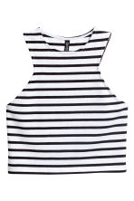 短版平紋背心上衣 - White/Black striped - Ladies | H&M 2