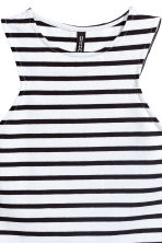 Cropped jersey vest top - White/Black striped - Ladies | H&M CN 3