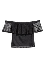 Spotted mesh top - Black - Ladies | H&M 2