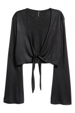 V-neck tie-front top - Black - Ladies | H&M 2