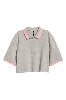 Cropped piqué polo shirt