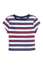 Short jersey top - Blue/White striped - Ladies | H&M 2