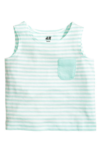 Vest top - Mint green/Striped - Kids | H&M CN