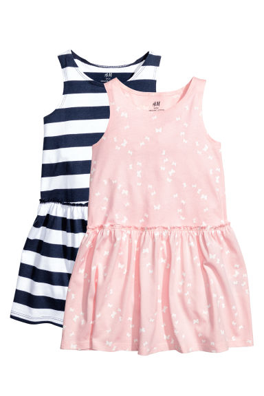 2-pack jersey dresses - Light pink/Butterflies - Kids | H&M 1