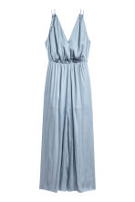 Long satin dress - Blue-grey -  | H&M CN 2