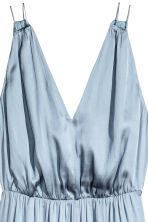 Long satin dress - Blue-grey -  | H&M CN 3