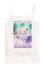 Printed strappy jersey top - White/Photo - Kids | H&M 1