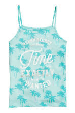 Printed strappy jersey top - Mint green/Palms -  | H&M CA 2