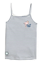 Printed strappy jersey top - White/Dark blue/Striped - Kids | H&M CN 2