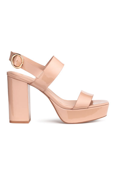 Platform sandals - Powder beige - Ladies | H&M 1