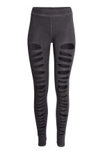 Jersey leggings Ripped - Black washed out - Ladies | H&M 2