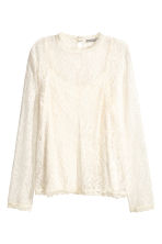 Long-sleeved lace top - Natural white - Ladies | H&M CN 2