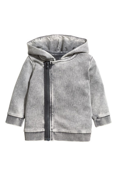 Hooded sweatshirt cardigan - Grey washed out - Kids | H&M 1