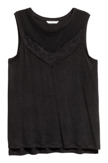 Jersey top with lace
