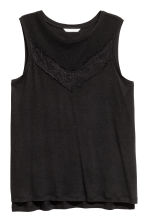 Jersey top with lace - Black - Ladies | H&M 2