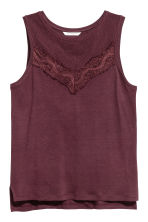 Jersey top with lace - Plum - Ladies | H&M CN 2