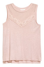 Jersey top with lace - Powder pink - Ladies | H&M 2