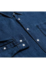 Linen-blend denim shirt - Dark denim blue - Men | H&M 3