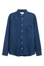Linen-blend denim shirt - Dark denim blue - Men | H&M CN 2