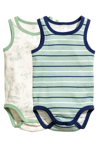 2-pack sleeveless bodysuits - Mint green/Striped - Kids | H&M CN 1