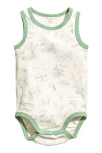 2-pack sleeveless bodysuits - Mint green/Striped - Kids | H&M CN 2