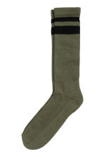 Terry socks - Dark khaki green - Men | H&M CN 1