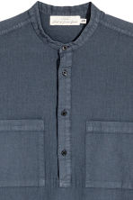 Linen-blend shirt Relaxed fit - Dark grey-blue - Men | H&M 3
