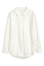 Wide silk blouse - Natural white - Ladies | H&M 2