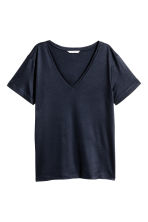 Lyocell jersey top - Dark blue -  | H&M CA 1